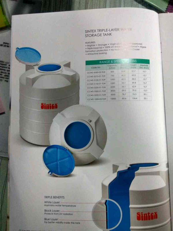 Water storage tank sintex brand - by Amin Distributors , Ahmedabad