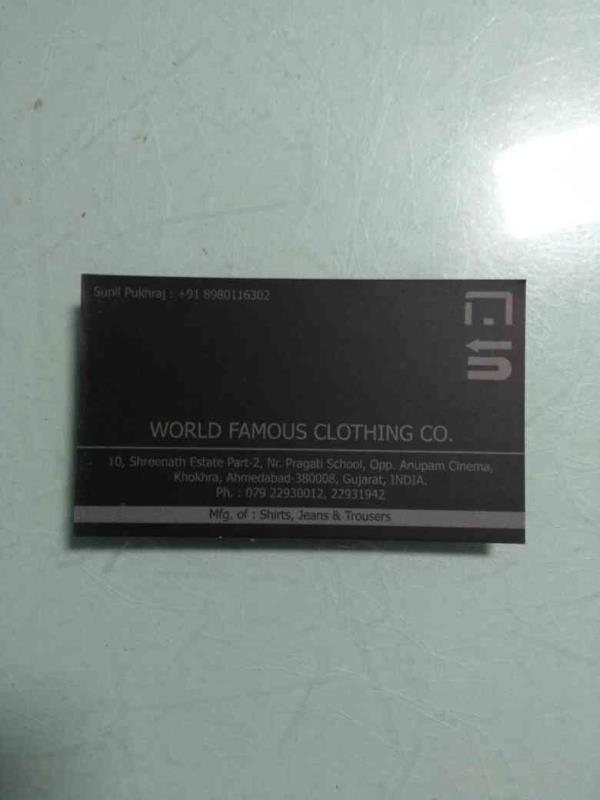 Men's trousers are our core product , we give best quality to our customers. - by WORLD FAMOUS CLOTHING CO., Ahmedabad