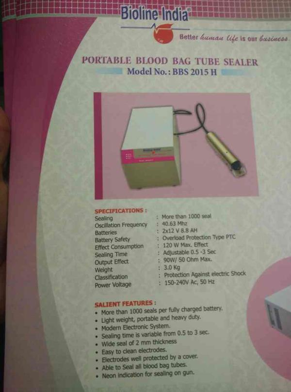 portable blood bag tube sealer  - by Bioline India, Indore