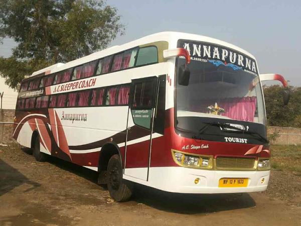 2x2 AC and non AC sleeper and seat buses are available.  - by Annapurna Bus Service , Indore