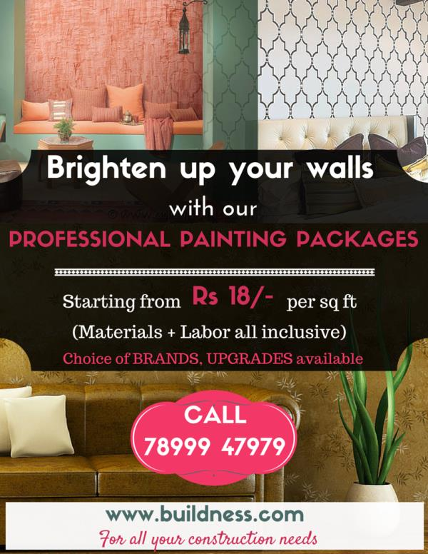 Brighten up your walls with our Painting Packages - by BUILDNESS.com - For all your construction needs, Bengaluru