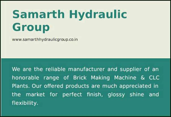 We are the reliable manufacturer and supplier of an honorable range of Brick Making Machine & CLC Plants. Our offered products are much appreciated in the market for perfect finish, glossy shine and flexibility. We Manufacture Fly Ash Brick - by Samarth Hydraulic Group, Pune
