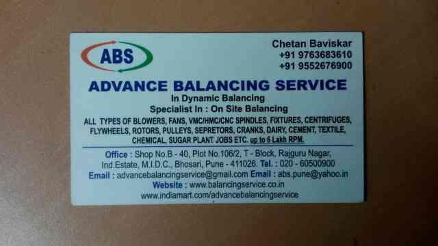 id fan balancing - by Advance Balancing Services, Pune