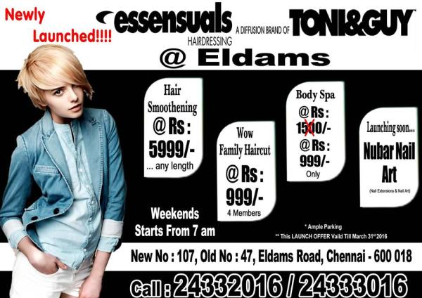 Unisex Salon In Teynampet             We Provide all kind of Unisex Hair Dressing Service in Teyn ampet with best services at best price - by Essensuals Eldams Road, Chennai