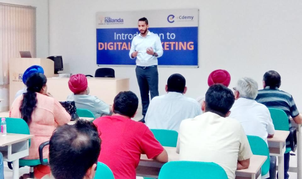 Digital Marketing   PTU Nalanda hosted a session on Digital Marketing for members of Chandigarh Management Association (CMA) at its campus. The participants were welcomed by our CEO, Mr Manish Trehan. Mr Bharat Chopra from eCdemy L - by PTU Nalanda School of TQM & Entrepreneurship, Mohali