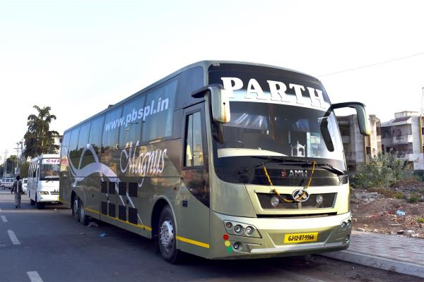 All New AC Volvo AMW Bus first time in Vadodara.... Experience a Real Luxury Comfort with us. - by Parth Bus Services Pvt. Ltd., Vadodara