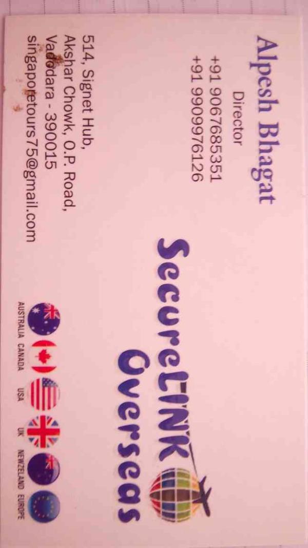 we have started as a multi functional organisation in overseas services in vadodara Gujarat.  we provides visa consultation in vadodara.  - by Securelink Overseas, Vadodara