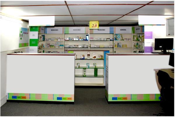 Interior of Medical Store Designed  by Aarti Arts, Front display will be visible from every corner of the store. - by Interior Designer - Mumbai, Mumbai Suburban