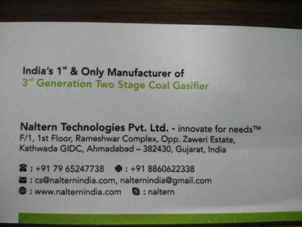 we are leading manufacturer of two stage coal gasifier. - by Naltern Technologies Pvt Ltd, Ahmedabad