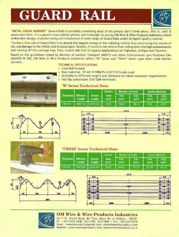 Manufacturer of W beam highway crash barrier in India, Manufacturer of W beam highway crash barrier in Kolkata, Manufacturer of W beam highway crash barrier in West Bengal, Manufacturer of W beam highway crash barrier Orissa, Manufacturer o - by Om Wire & Wire Products Industries, Kolkata