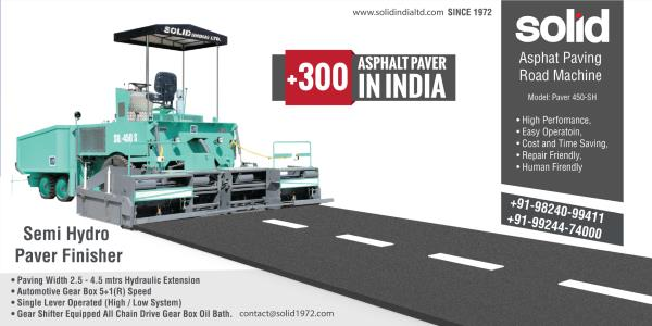 More Than 45, 000 km Road Completed Project of #NationalHighway, PMGSy, PWD, NHAI,  Make In India By 1972 SOLID Brand  Asphalt Paver A paver (SOLID paver finisher, asphalt finisher, paving machine) is a machine used to lay asphalt on roadways. It is normally fed by a dump truck which brings hot asphalt. Solid india Limiter supplier Of Asphalt Pave finihser for Road Complete Road Projects.