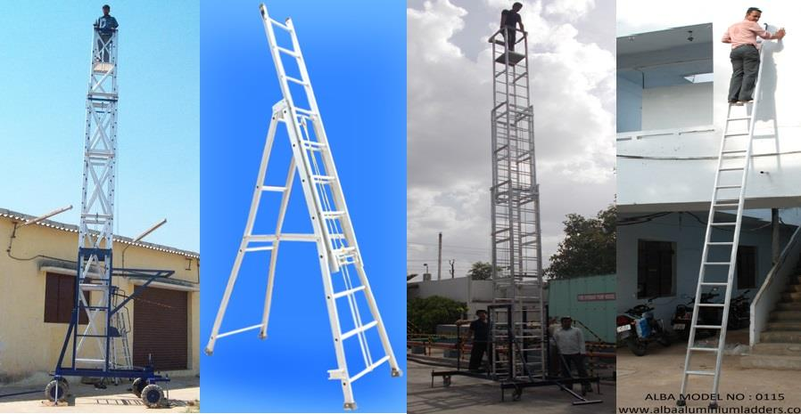 ALBA ALUMINIUM LADDERS is an ISO-9001-2008 Certified Company, specialized in manufacturing of Aluminium Ladders, Tower Ladders, Self Support Ladders, Extension Ladders and Aluminium Scaffolding and having 20 years of experience in this doma - by Alba Aluminium Ladders, Hyderabad