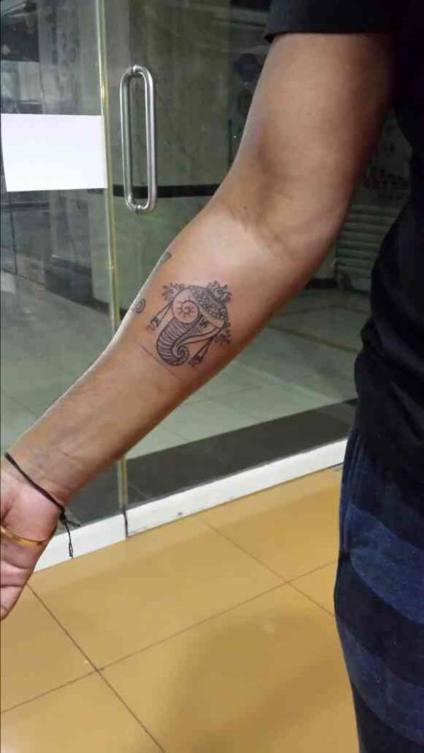 Shankhu Tattoo -Symbols of Balaji. - by TAG - Tattoo Art Garage, Hyderabad