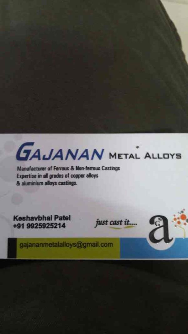 This is our visiting card - by Gajanan Metal Alloys, Ahmedabad