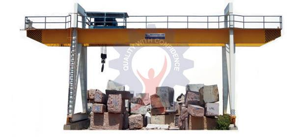 OUR PRODUCT  GANTRY CRANE    MODEL: GC (OVERHANGING) AND (WITHOUT OVERHANGING) CAPACITY: ( 10 TON TO 50 TON)  GANTRY CRANE is best suited for handling of material / blocks in an open yard. The crane has fabricated box structure of M.S. Pla - by Prem Engineering works - call us 9828056125/ 9828044146, Udaipur