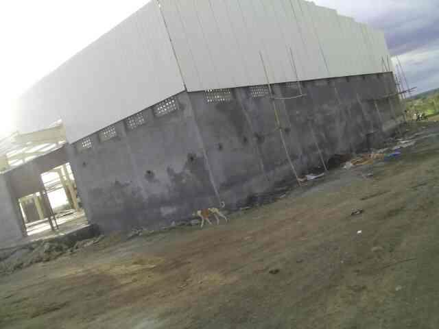 wall cladding started at solapur site - by PEB Metal Buildings Pvt. Ltd., Pune