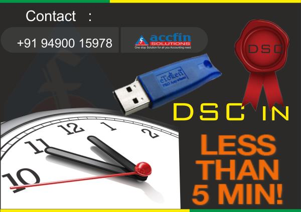 """""""DIGITAL SIGNATURE CERTIFICATE"""" @ Your Door step and Quick Service in Less than 5 minutes.   About DSCs:  Class-2: As e-filing is made compulsory in ROC, every director / signing authority needs to have their Digital Signature Certificate.  - by Accfin Solutions, hyderabad"""
