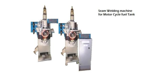 Seam Welding Machine For Fuel tank Of Motor Cycle and Scooter Rigid Fabricated Machine Structure Pressure Head Assly with Low inertia Ram Encapsulated Weld Transformer 100 KVA – 200 KVA Range 400 mm to 1000 mm Range Throat Depth Specially D - by Winner weldingg Corporation, Pune