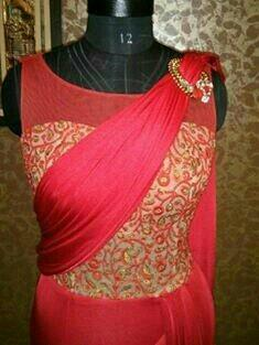 Designer Drape Sarees with Embroidery Blouses available on customer demand. - by Aardhya Designer Wear, Vadodara
