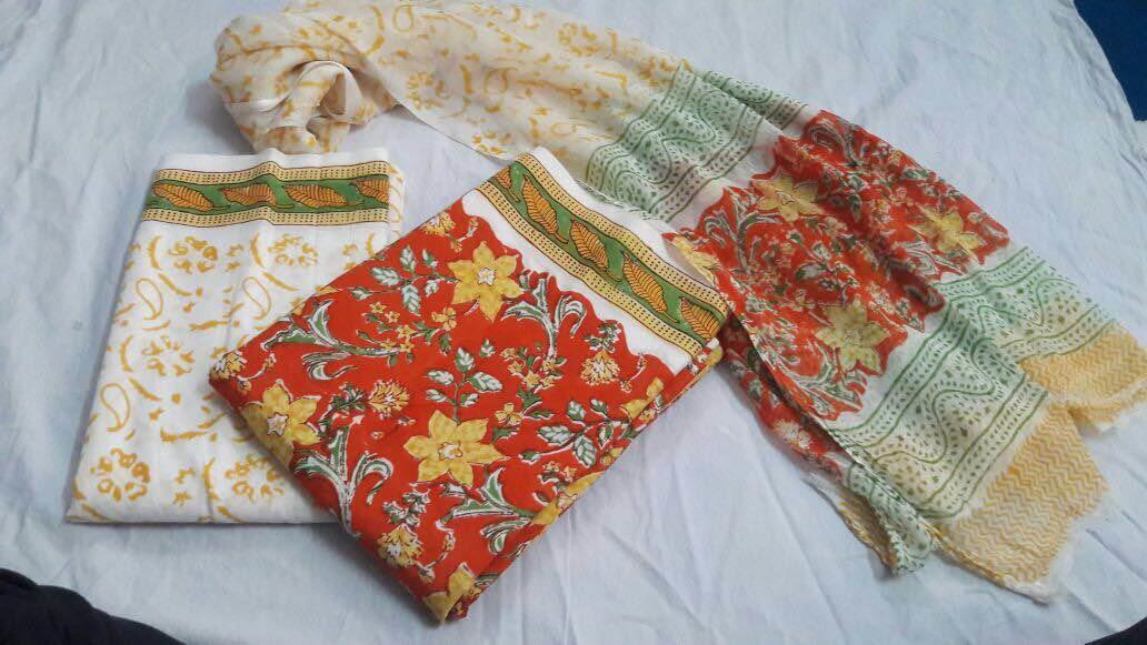 Hand block printer cotton suet with chiffon duppta  - by Pinky Hastkala Printers, Jaipur