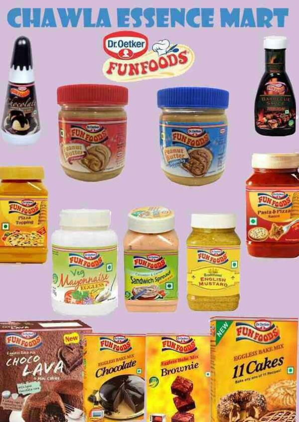 Fun foods products at Chawla Essence Mart! Chocolate syrup barbecue sauce peanut butter creamy peanut butter crunchy chocolate fudge spread pizza topping pizza pasta sauce sandwich spread eggless mayonnaise choco lava  chocolate cake mix 11 cakes mix vinaigrette salad dressing and many more... available at Chawla Essence Mart. Bake it with love bake it with us:-)  - by CHAWLA ESSENCE MART, Hyderabad