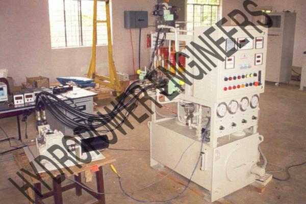 Hydraulic Test rig to test Hydromotor or Actuators. Constant and accurate measurement of Hydraulic Pressure and flow monitoring systems are involved with various sensors and transducers. - by Hydropower Engineers, Bengaluru