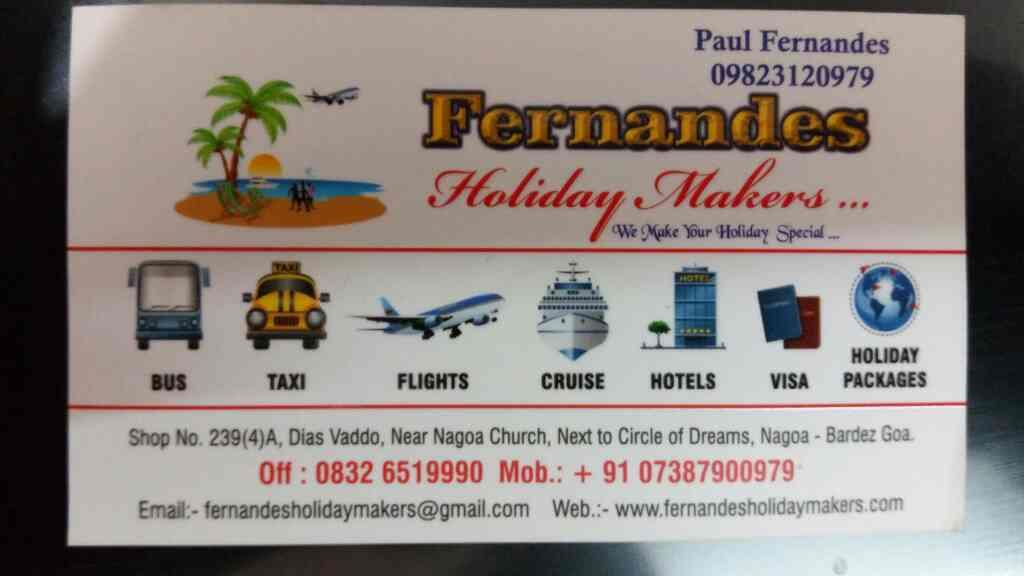 best travel agent in Panjim Goa  - by Fernandes Holiday Makes , Panjim