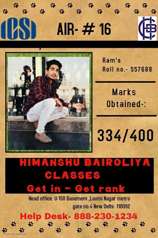 All india rank 16th - by Himanshu Bairoliya Classes, Delhi