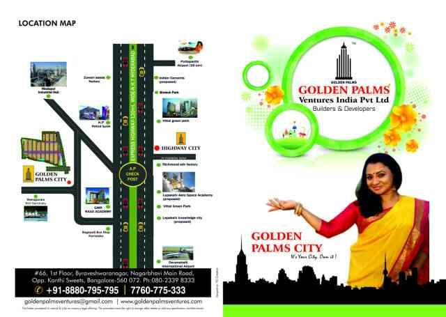 DTCP approved plots near Bagepalli with a rate of RS.  217 per square feet - by Golden Palms Ventures , Bangalore