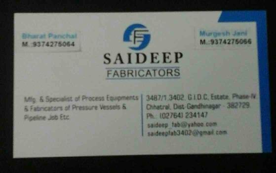 Saideep Fabricators is Manufacturer & Specialist of Process Equipments & Fabricators of Pressure Vessels & Pipeline Job Etc - by Saideep Fabricators, Ahmedabad