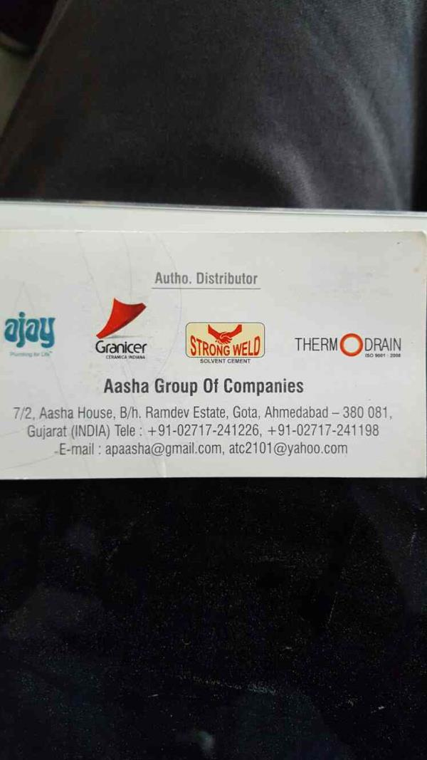 We are the authorised distributor partners of following brands:  *Ajay - plumbing for life *Strong Weld - solvent cement *Thermo Drain - by Aasha Enterprises, Ahmedabad