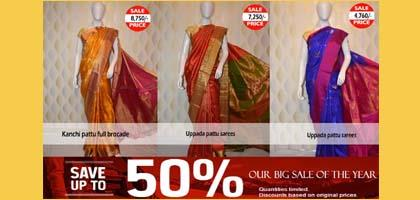 Sale 50% On Silk sarees - by Jyothi Saree Mandir, Hyderabad