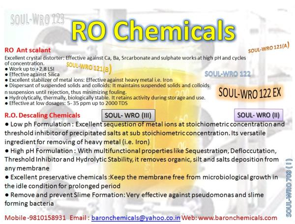 best manufacture of RO chemicals  in north India Excellent crystal distorter: Effective against Ca, Ba, Srcarbonate and sulphate works at high pH and cycles of concentration.  ● Work up to +2.8 LSI  ● Effective against Silica  ● Excellent s - by Baron Chemicals &Systems P Ltd 9810158931, Delhi
