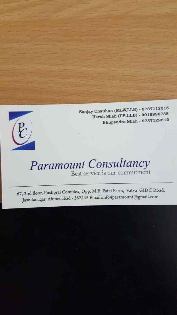 We at Paramount Consultancy works with Motto *Best Service is our commitment* - by Paramount Consultancy, Ahmedabad