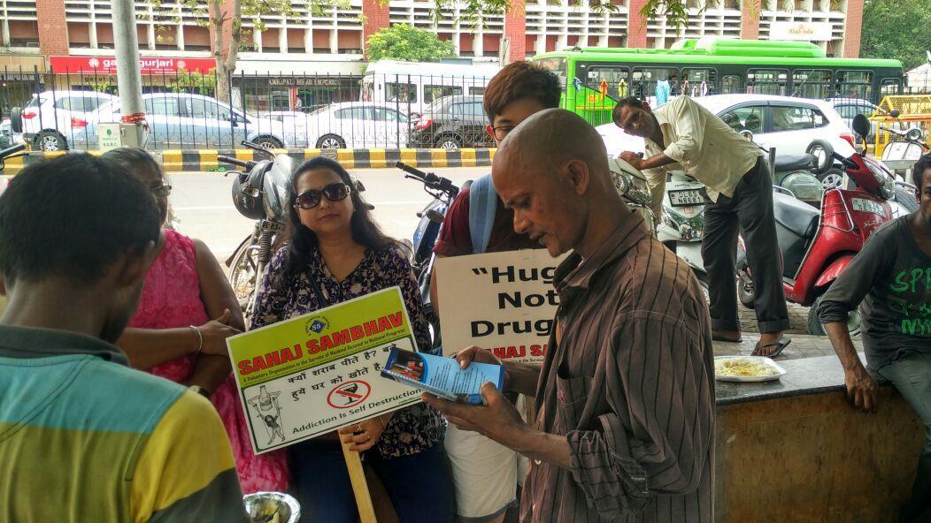 Sahaj Sambhav (Alcohol / Drug Rehabilitation Centre), campaign for Drug Abuse at Hanuman Mandir on 1st July, 2016  - by Sahaj Sambhav Org, New Delhi