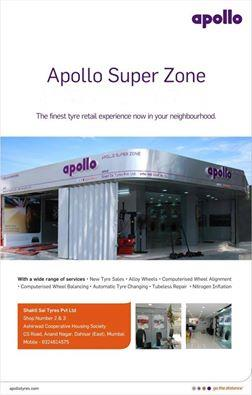 Appolo Super Zone in Shakti Sai Tyres Pvt. Ltd. in Mira Road Mumbai is the Authorised Distributors and Dealers for Apollo Tyres in Mumbai  The Greatest Authorised Distributors and Dealers for Apollo Tyres in Mumbai is Shakti Sai Tyres Pvt.  - by Shaktisai Group, Mumbai