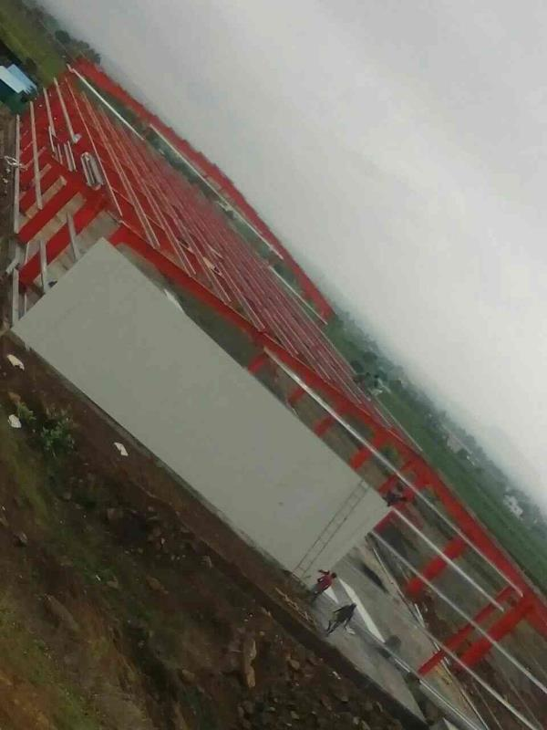K & B project at Nashik, sheeting started Completed main frame and purlins - by PEB Metal Buildings Pvt. Ltd., Pune