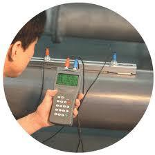 Importers & suppliers of Portable Ultrasonic Flow Meter.  Accessories include sensors (depending on pipe size), transducer cables, RS232 cable, charger, couplant, clamp fixture, manual & metal case. - by Precision Scientific Instrument, New Delhi