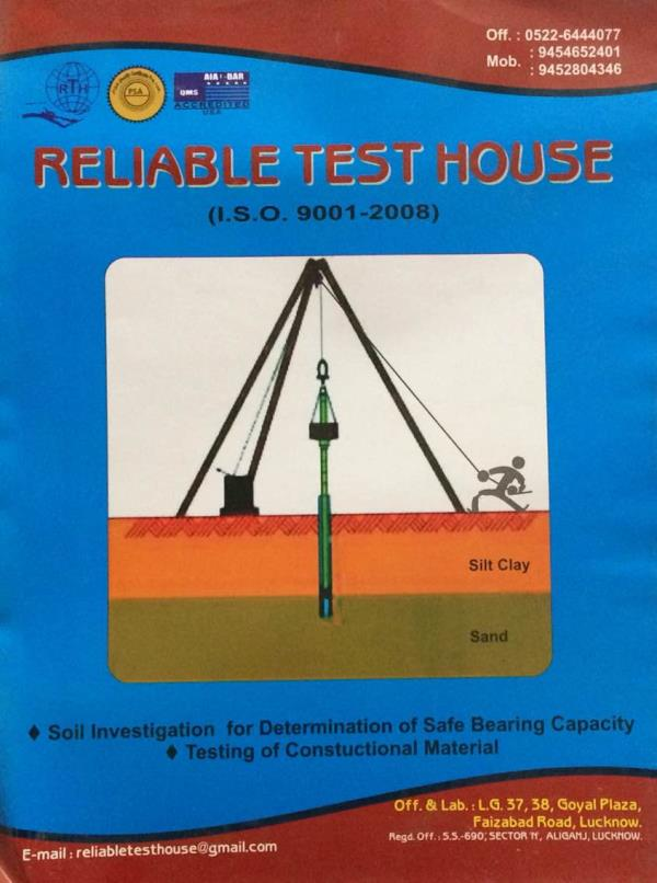 Salient Features: ➡️ A Test House Under One Roof. ➡️ Boring, Collection of Samples and SPT Test in Field. ➡️ Testing Of Soil Samples in our laboratories  ➡️ Determination of safe bearing capacity of Foundation. ➡️ Testing of Concrete Cube a - by Reliable Test House, Lucknow