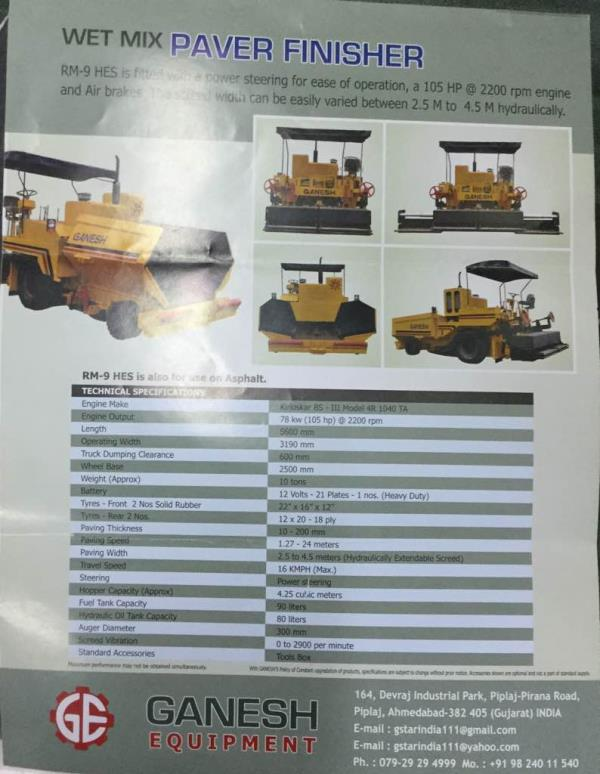 WET MIX PAVER FINISHER MANUFACTURERS   WE KISHAN ENTERPRISE is well known for wet mix paver finisher machine in Ahmedabad. We believe in best quality products and also known as big brand Ganesh Equipment..  For more details   Call on 906726 - by KISHAN ENTERPRISE, Ahmedabad
