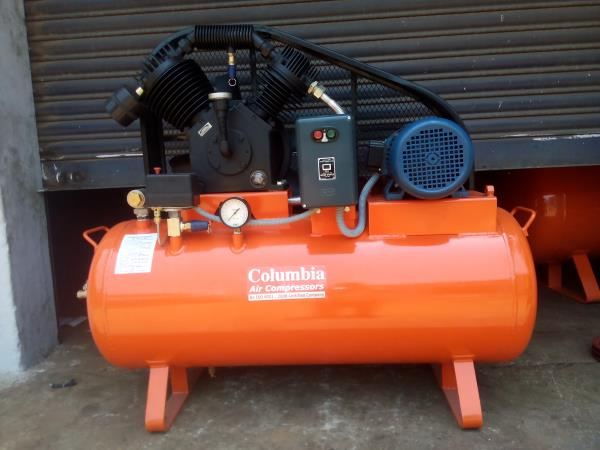 Columbia Med Range High Pressure Air Compressor ,   Key Specification:  Item Code CTSHP 30 Vx SKYLINE StageTwo Piston70mm x 50mm DriveBelt Package TypeStandard Air Tank in Liters± 160ltrs Volts230v Air Receiver TypeHorizontal Mot - by Columbia Air Compressors, Coimbatore