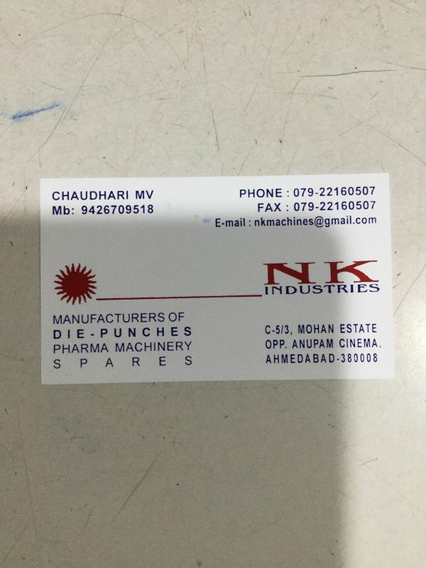 We are leading manufacturer of pharmaceutical die and punches. - by NK Industries, Ahmedabad
