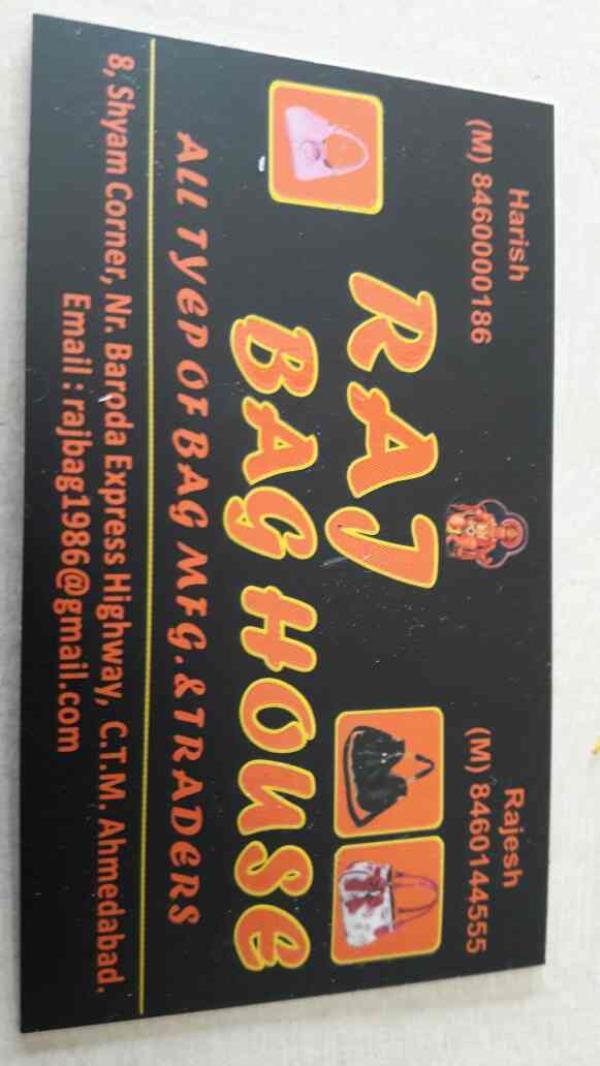 Our Visiting Card below - by Raj Bag House, Ahmedabad