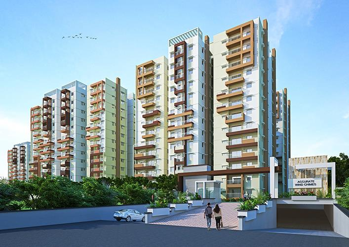 Gated Community in Hyderabad  Accurate Wind Chimes is a Gated Community spread across 6.5 acres. We have a total of 8 towers which is a G+12 high rise project comprising of 582 units. It has a mix of 2BHK & 3BHK. The sizes of apartments in  - by Accurate Wind Chimes Call 04039560530, Hyderabad