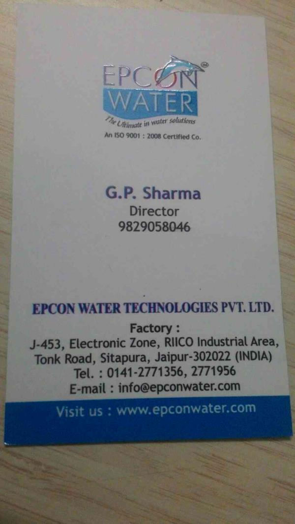 Epcon Water Technologies Pvt ltd is manufacturers of water purification system in Jaipur Rajasthan . - by EPCON WATER Technologies , Jaipur