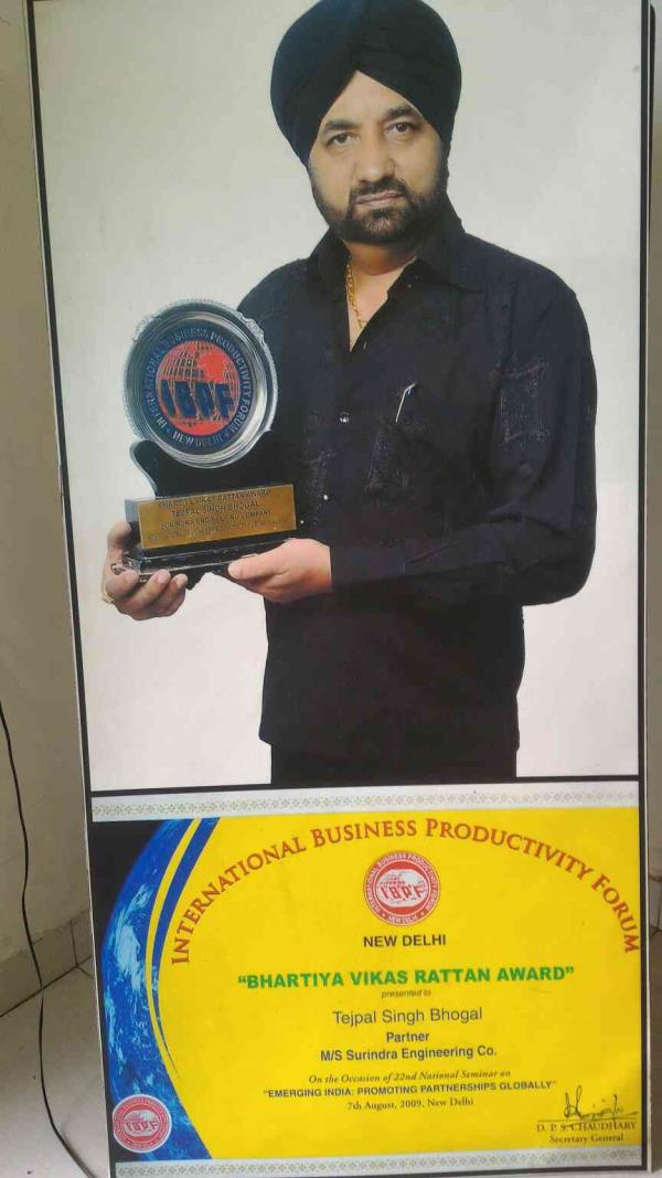 AWARD WINNER CONPANY FOR ROLLING MILLS   We are greatful to winning award in Bhartiya Vikas Rattan Award in 2009 for our best products and services  - by SURINDRA ENGINEERING CO.,  Ahmedabad