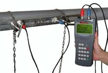 Ultrasonic Flow Meter to measure flow of liquids through any pipe. Instantaneous display of positive, negative and total flow. - by Precision Scientific Instrument, New Delhi