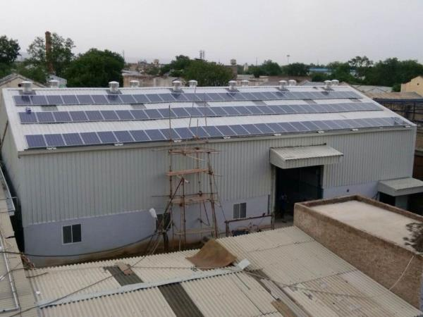 54 kW rooftop installation on slanted roof with super structure is going on at Alwar Rajasthan  - by Esso Fab Tech Pvt Ltd., Ahmedabad