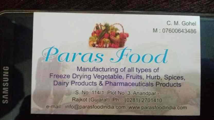 we are leading manufacturer of freeze drying vegetables, fruits, hurb, spicec, dairy products, pharmaceutical products in india - by Paras Foods, Rajkot