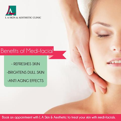Benefits of Medi-facial: -Refreshes skin -Brightens dull skin -Anti aging effects Book an appointment with L A Skin and Aesthetic Clinic to treat your skin with medi-facials.  #LAskin #la #laskinaesthetic #dermatology #dermato - by L A Skin & Aesthetic Clinic, New Delhi